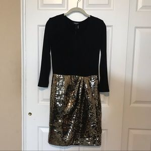 DKNY Cocktail /Party Dress Gold & Black